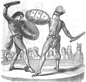 The practice of gladiatorial sacrifice, by which some Aztec war captives would be taken and made to battle with Aztec warriors.