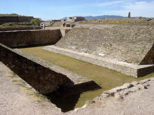 The ceremonial ball court from Monte Alban, a settlement from the Zapotec culture that existed long before the Aztecs. The Mesoamerican ball game was first created by the Olmecs and then adopted by later cultures, including the Maya and Aztecs.