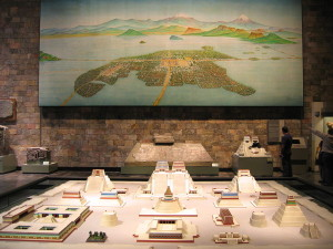 A model and map of Tenochtitlan from the National Museum of Anthropology in Mexico City.